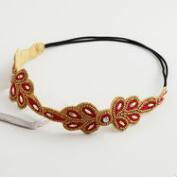 Red and Bronze Beaded Leaf Headband