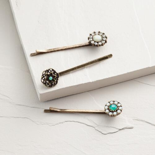 Gold Flower Hairpins, Set of 3