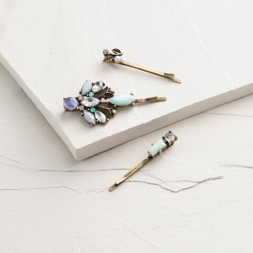 Blue Estate-Style Hairpins, Set of 3