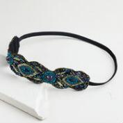 Peacock Blue Beaded Headband