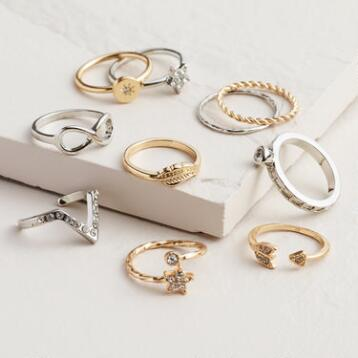 Gold and Silver Infinity Midi Rings, Set of 10