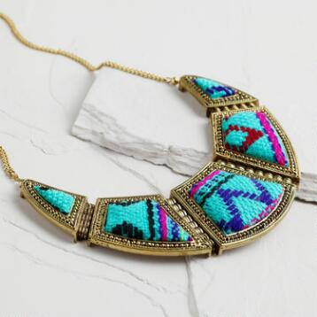 Turquoise Tribal Fabric Layered Statement Necklace