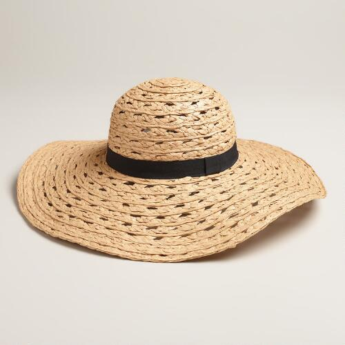 Open-Weave Sunhat with Black Grosgrain Ribbon