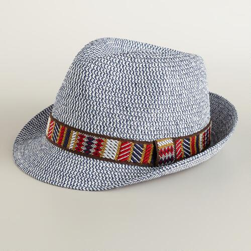 Blue Woven Fedora with Jacquard Band