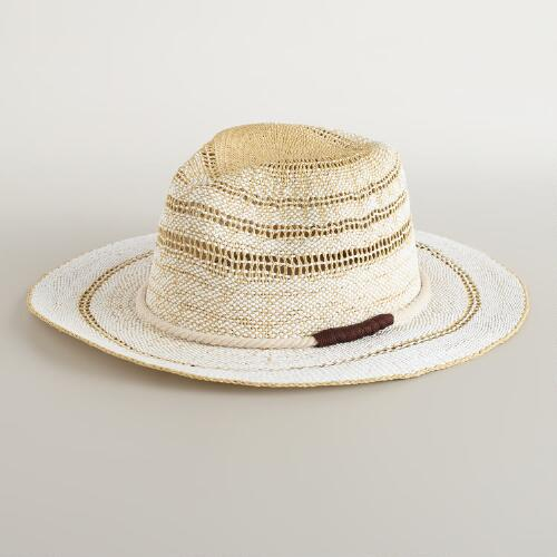 Cream Panama Hat with Rope