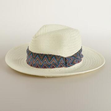 Ivory Panama Hat with Zigzag Band