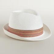 White Fedora with Light Brown Band