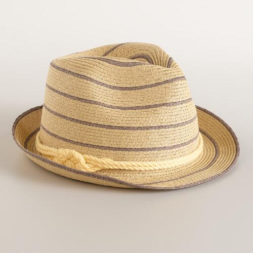 Natural Stripe Fedora with Rope Band