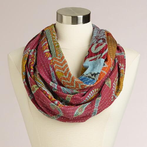 Cool Kantha Patchwork Infinity Scarf