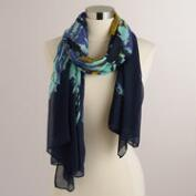 Navy and Turquoise Scarf