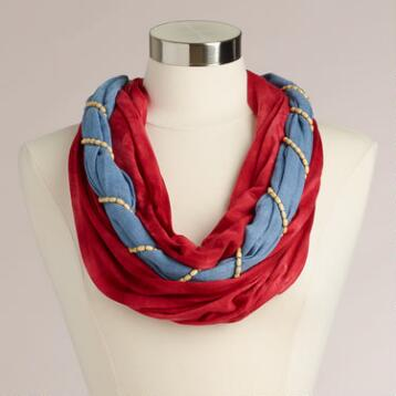 Red and Blue Infinity Scarf
