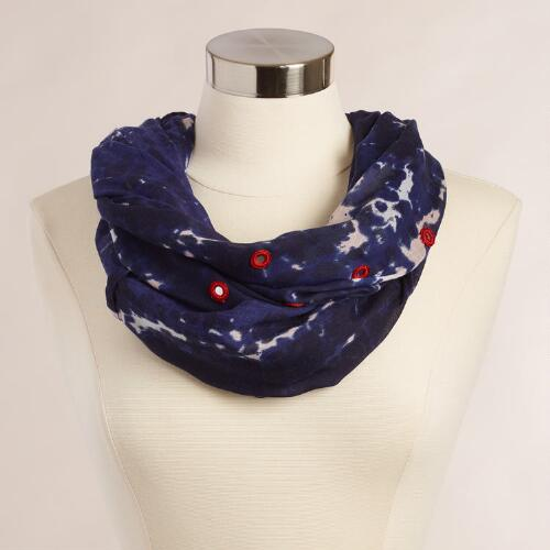 Blue Tie-Dye Infinity Scarf with Mirrors