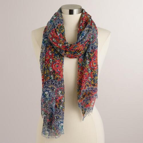Red and Blue Skull Scarf