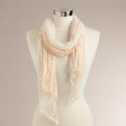 Peach Jersey Scarf with Lace