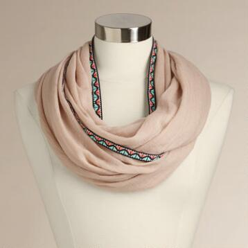 Beige Infinity Scarf with Ribbon Border