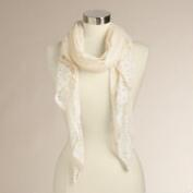 Ivory Lace Crochet Scarf