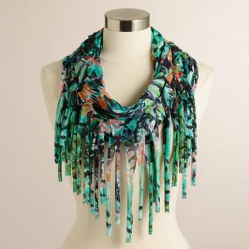 Turquoise and Black Floral Infinity Scarf with Fringe