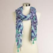 Turquoise and Navy Infinity Scarf with Extra-Wide Fringe