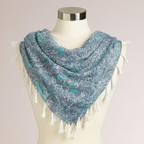 Square Turquoise and Paisley Scarf with Fringe