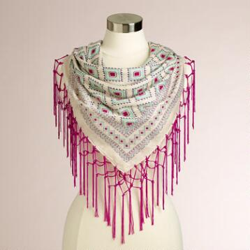 Square Fuchsia Geometric Scarf with Fringe