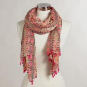 Coral Geometric Scarf with Fringe
