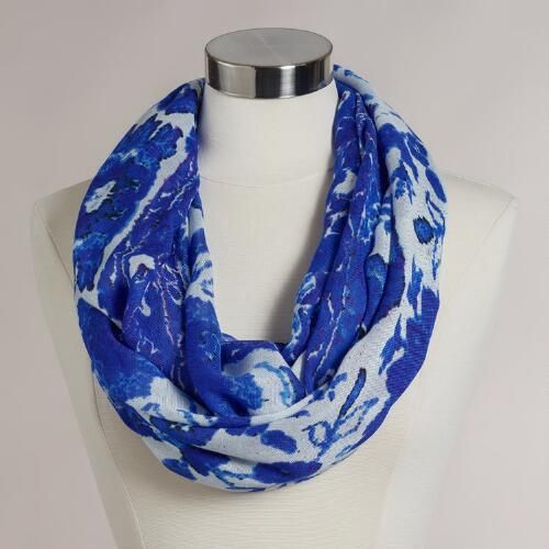 Blue and Ivory Floral Infinity Scarf