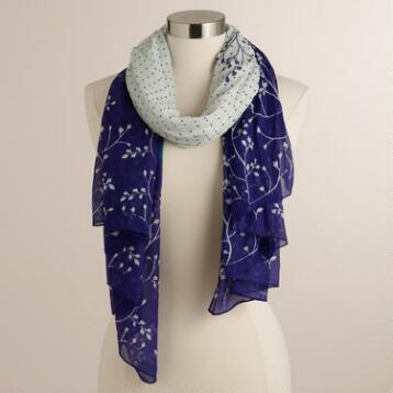 Blue and Turquoise Dot Cotton Scarf