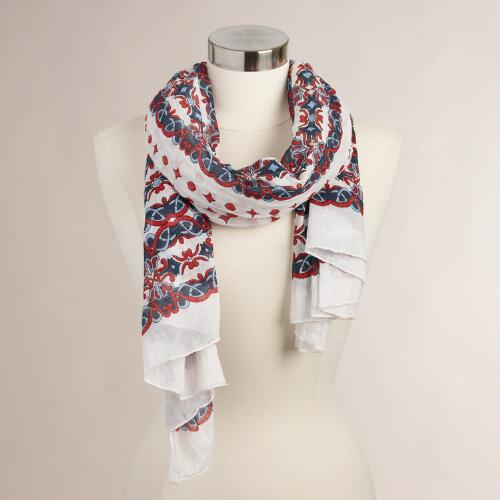 Red and Navy Dot Cotton Scarf
