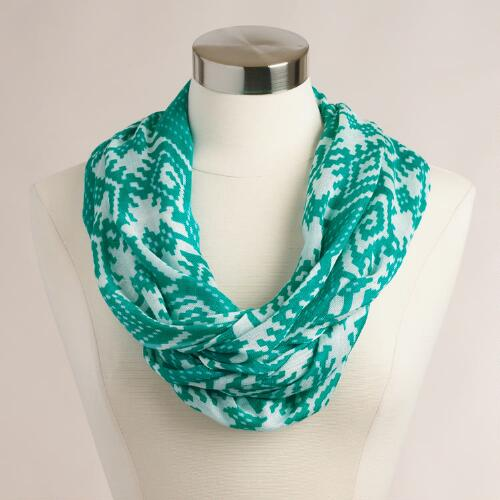 Turquoise Geometric Infinity Scarf