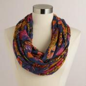 Blue and Pink Floral Infinity Scarf with Silver Beads