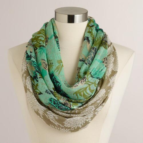 Taupe and Green Hydrangea Infinity Scarf