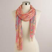 Coral and Blue Abstract Scarf