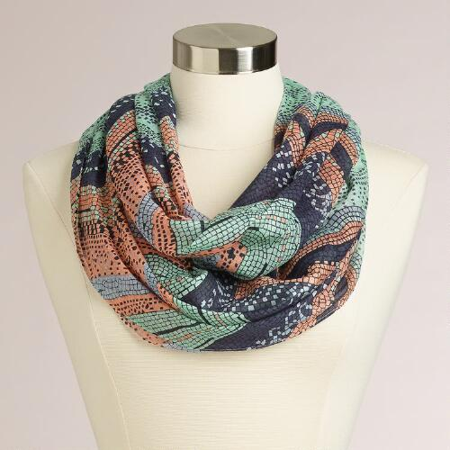 Mint and Blue Geometric Infinity Scarf