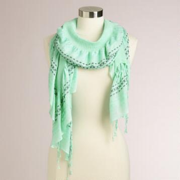 Mint Ruched Scarf with Fringe