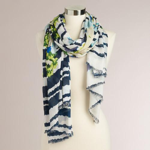 Blue and Green Stripe Floral Scarf