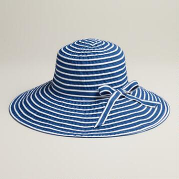 Navy and White Ribbon Sunhat with Bow