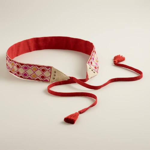 Natural and Red Geometric Embroidered Belt with Tie