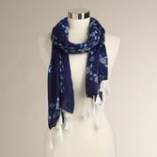 Square Navy and Cobalt Scarf with Fringe