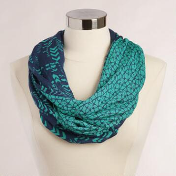Turquoise and Navy Double-Sided Infinity Scarf