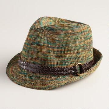 Multicolor Fedora with Leather Braid