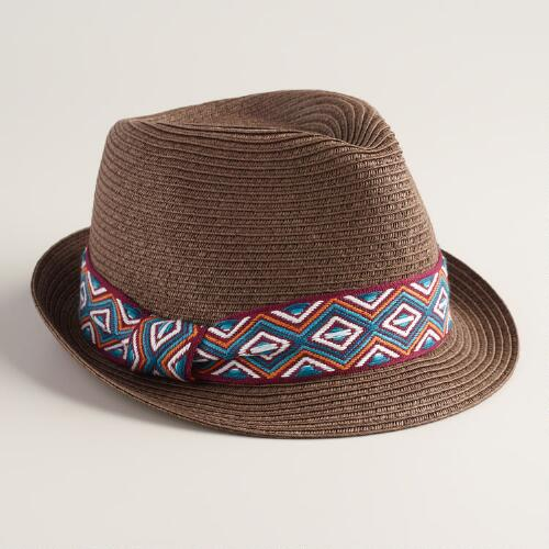 Brown Fedora with Jacquard Band