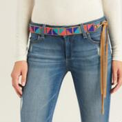 Blue and Coral Beaded Belt with Suede