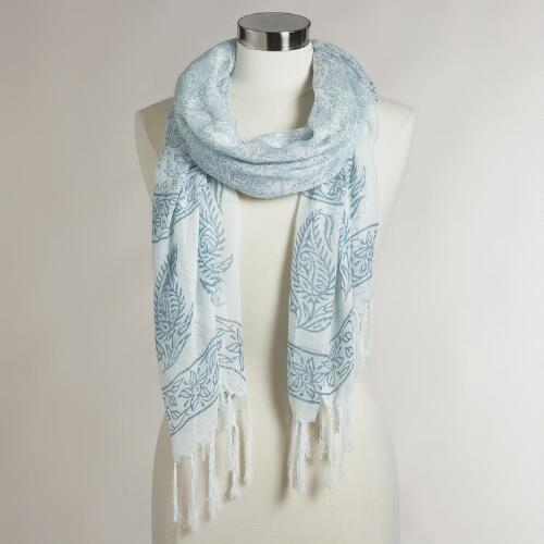 Ivory and Gray Paisley Scarf