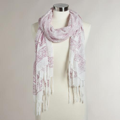 White and Red Paisley Scarf