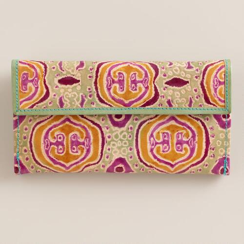 Mint and Pink Embossed Leather Wallet