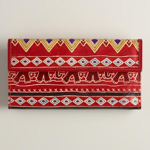 Red Leather Elephant Wallet