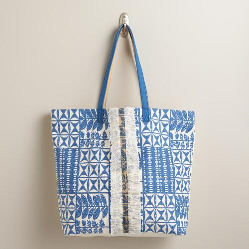 Large Blue and White Tote