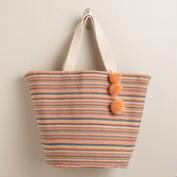 Orange Striped Beach Tote