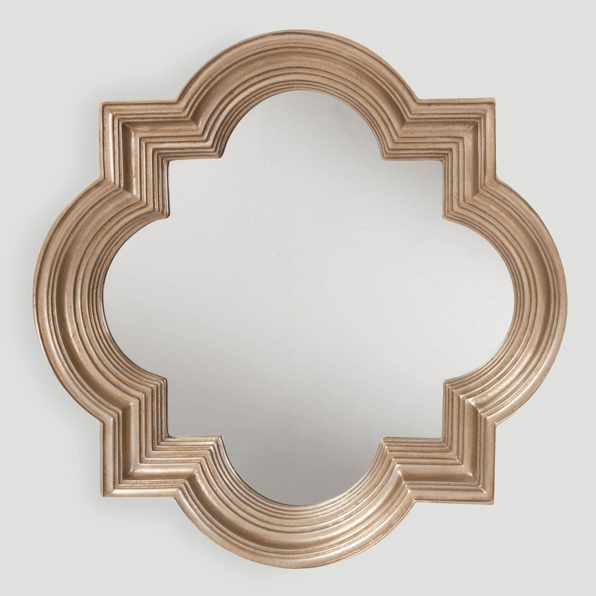 Platinum gold metal frame mirror world market for Gold frame floor mirror