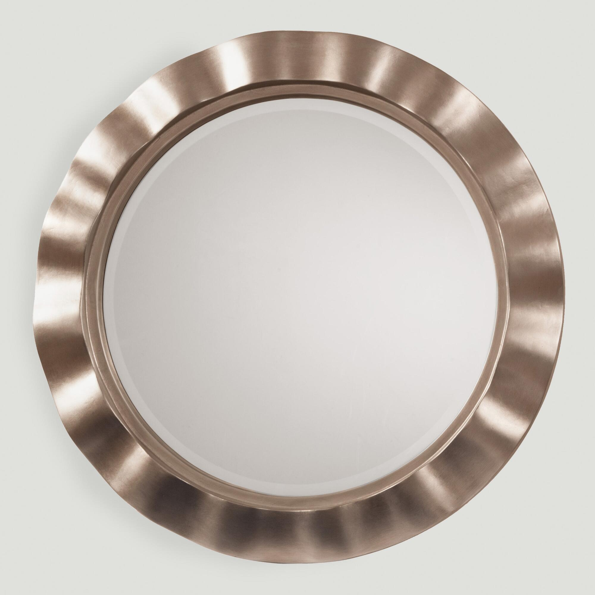 Silver metal wavy round mirror world market for Round mirror